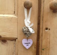 Shabby Personalised Chic Heart Willow Stringer Wedding Flowergirl Bridesmaid Etc